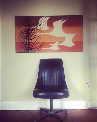 Kitschy Mid Century Modern Art is loved in our home.