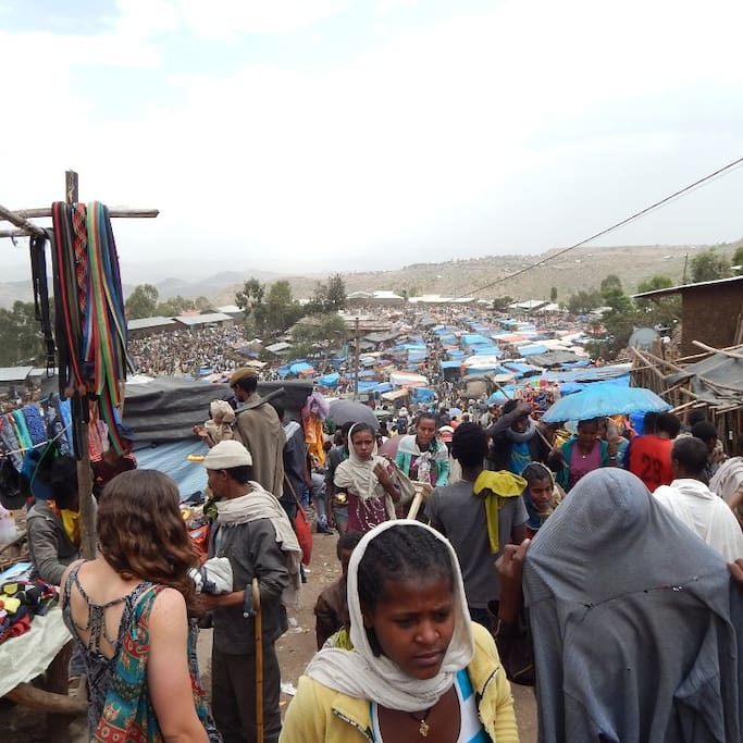 Our Israeli Customers visiting Lalibela's biggest Open-air Market!