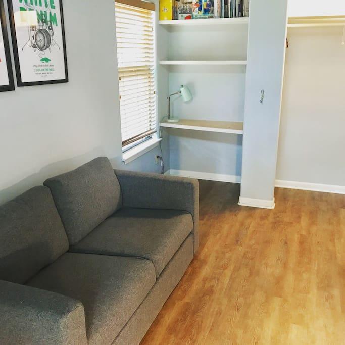 Love seat, built in desk, closet