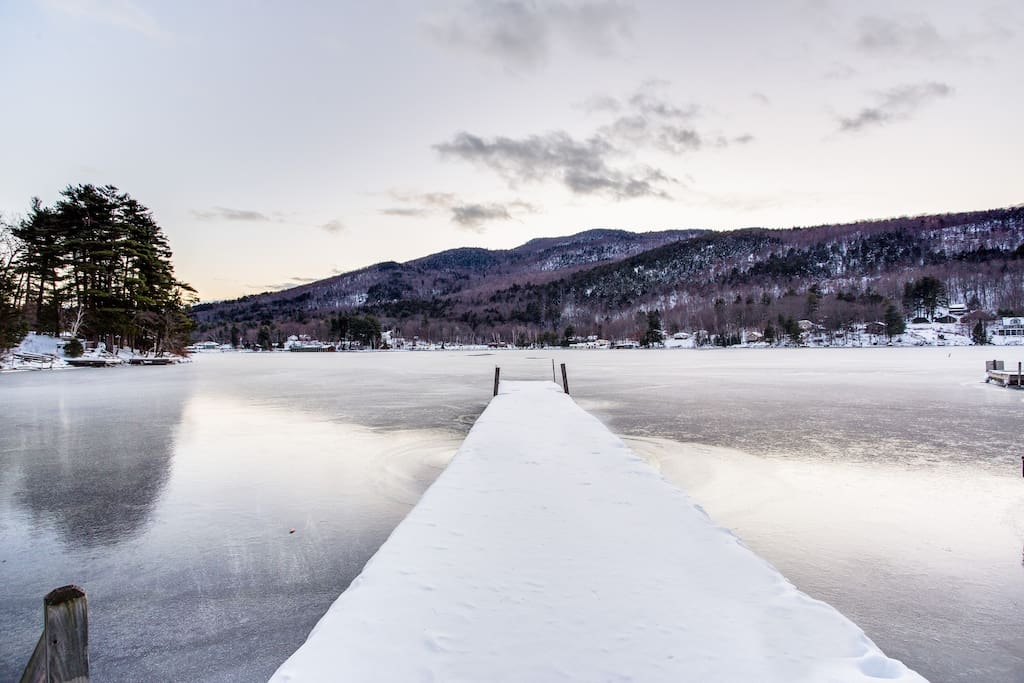 Lake Sunapee waterfront with private dock; 4 minutes from New England's premier ski and snowboard resort Mount Sunapee