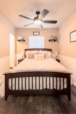 Enjoy a restful night in one of our cozy queen beds made just for the you! Included is a 32 inch TV mounted on wall for your entertainment.