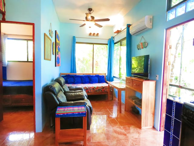 "Casa Aloha Main Living Room Area, A/C, 40"" TV, 2 recliner chairs, orthopedic mattress sofa bed"