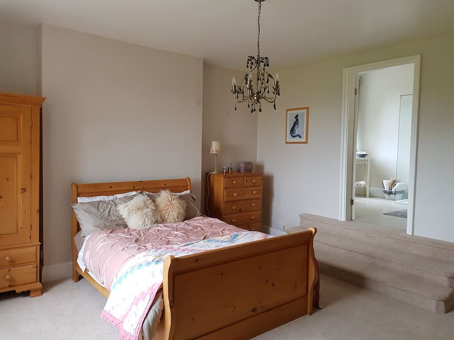 Calm and peaceful ensuite room overlooking gardens and with magnificent views of Shropshire hills