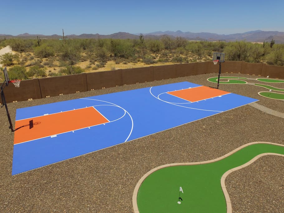 Full court basketball court. Real picture taken from a drone.