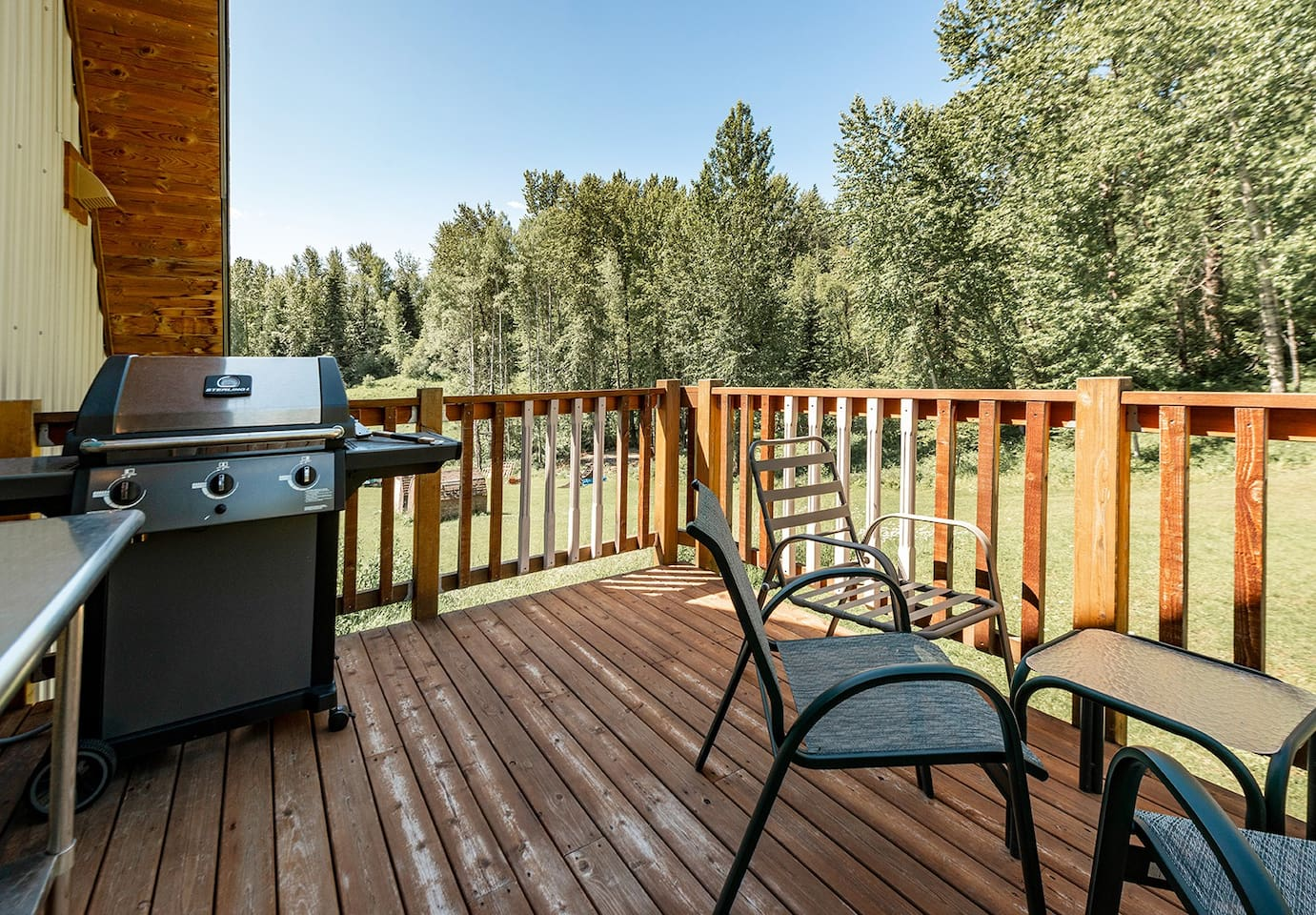 deck with seating and gas BBQ