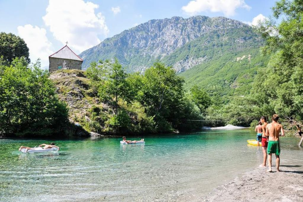 The Curraj river beach, right next to the camp.