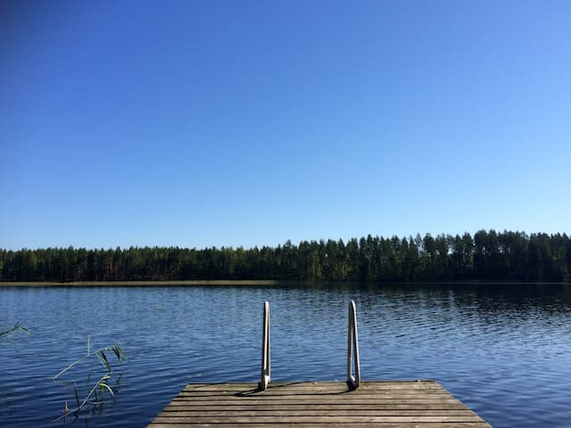 Perfect evening: barbeque, sauna and a dip in the lake!