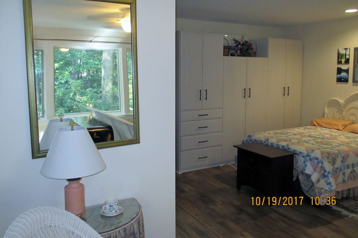 View of bedroom area from reading nook, front window reflected in mirror.