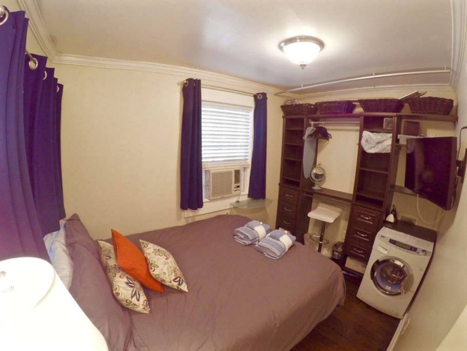 One bedroom with Queen bed. Please note: washer/dryer is no longer available*