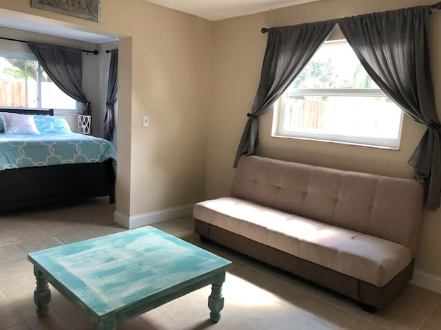 Private Space: Bedroom and Living Area