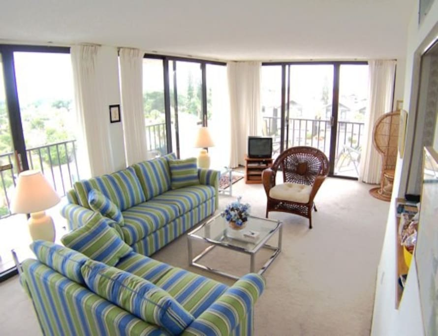 Our living room is surrounded by two large balconies and huge sliders providing sun and light