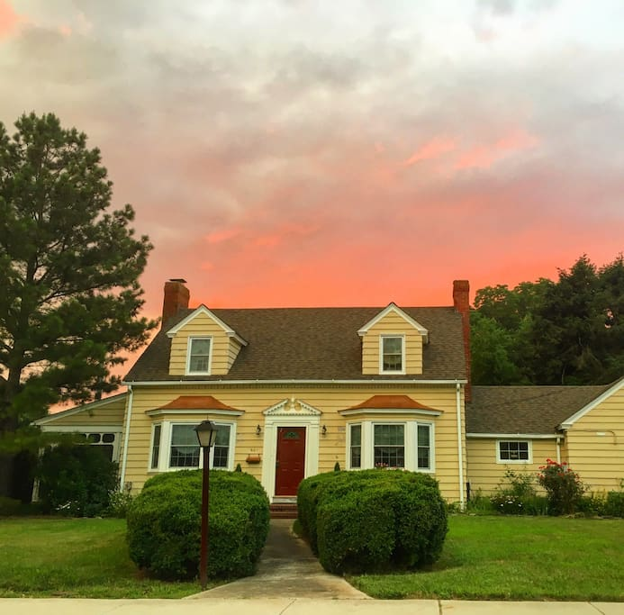 The front of the house at sunset