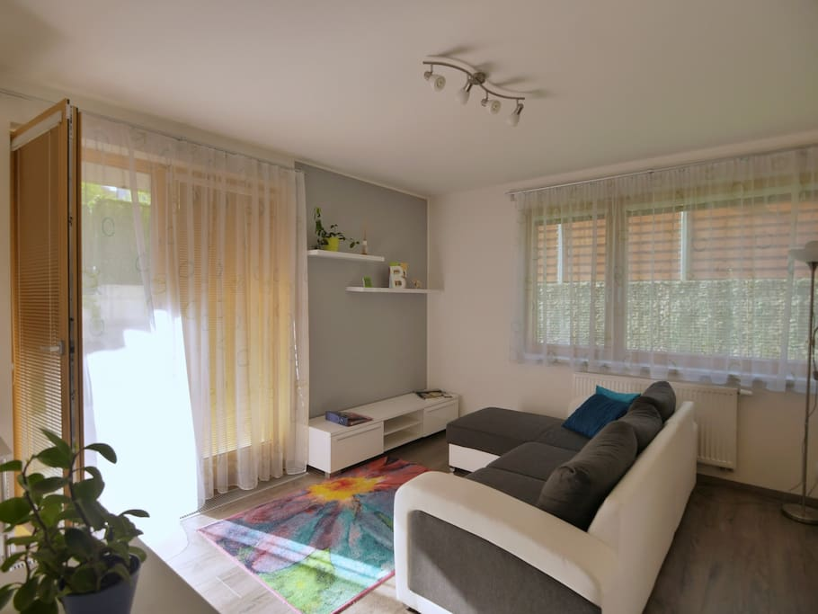 Living room has a view and an access to a small private garden