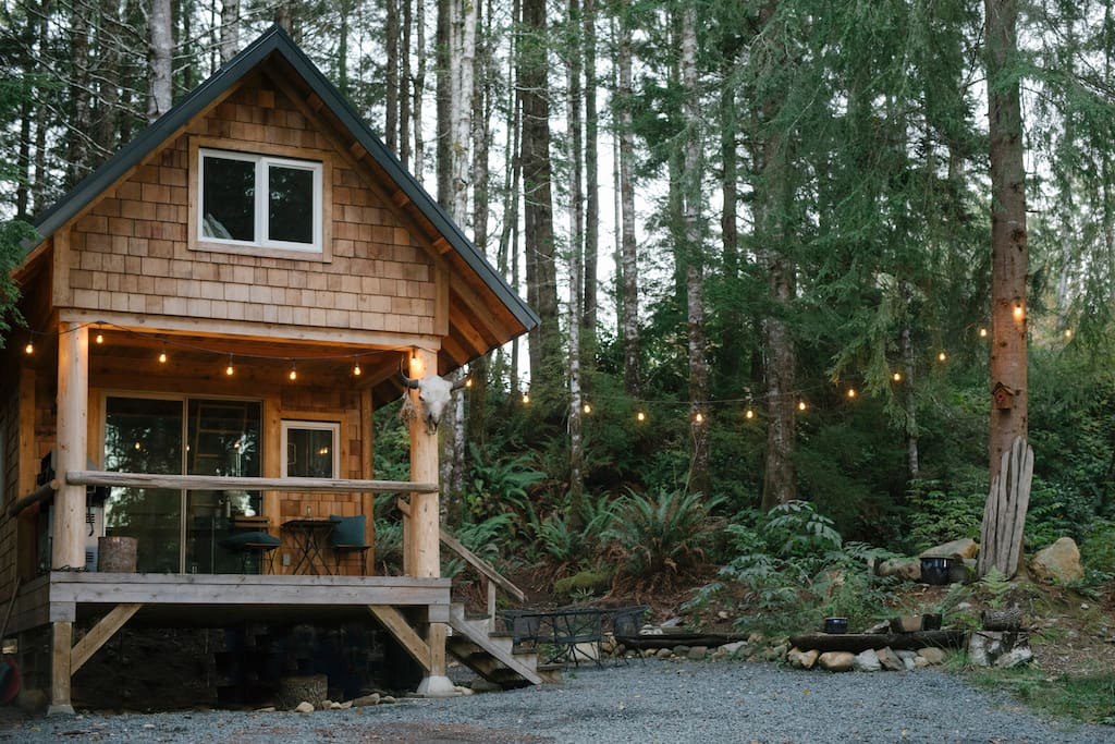 Cabin, outdoor patio set & lights.