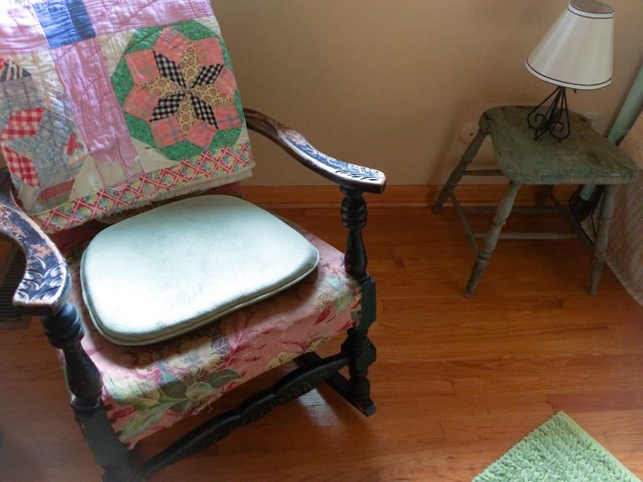 Antique chair; hardwood floor