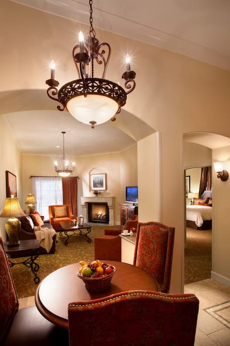 The luxurious seating area features a fireplace