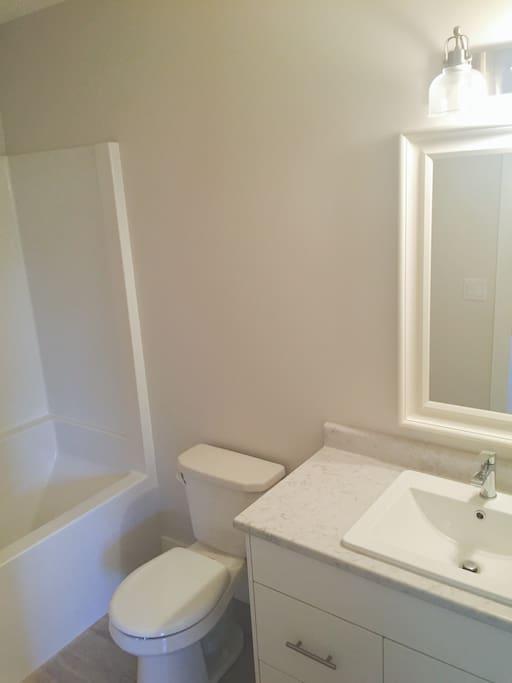 washroom with bath+shower