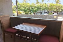 Private Lanai has table and two chairs