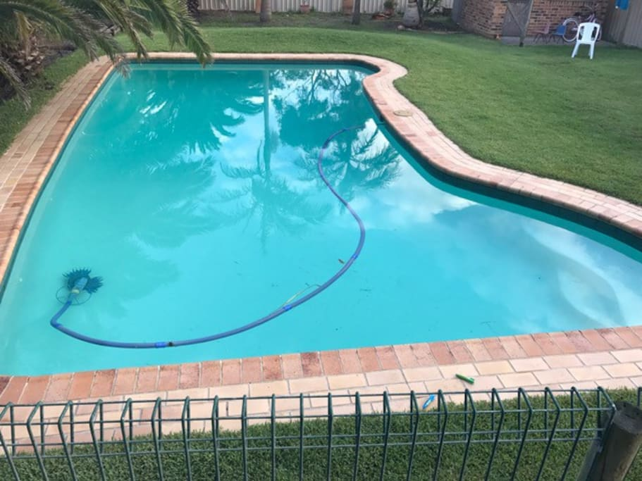 11m x 7m solar heated pool waiting for you to jump into.