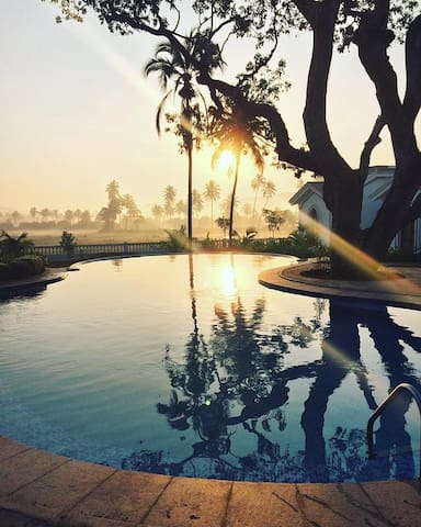 Watch beautiful Sunsets. This cute little infinity pool is everything your body and soul need. Float in the stillness watching tufts of clouds, hear the local birds converse, with peacocks occasionally popping their heads through the fields