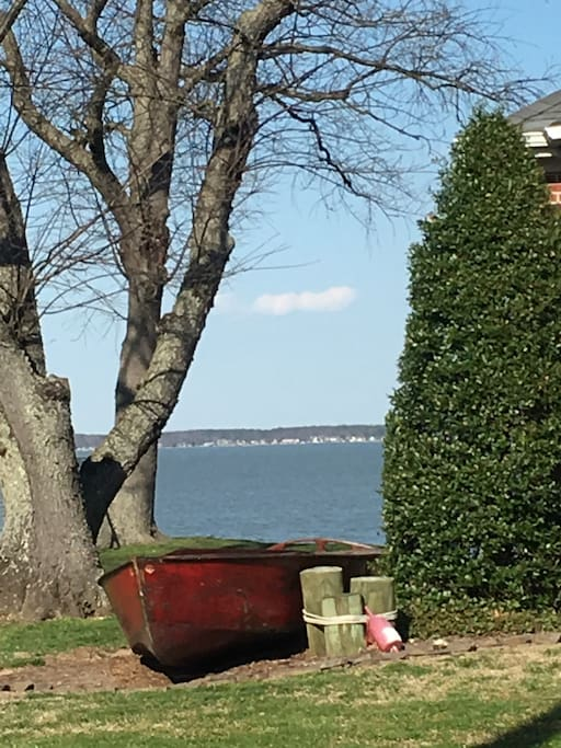 The house is about 50 yds from the Potomac River / Chesapeake Bay. You can see Maryland, a few miles away.