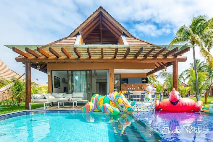 Bangalô 3 suítes + wi-fi no Eco Resort Carneiros.