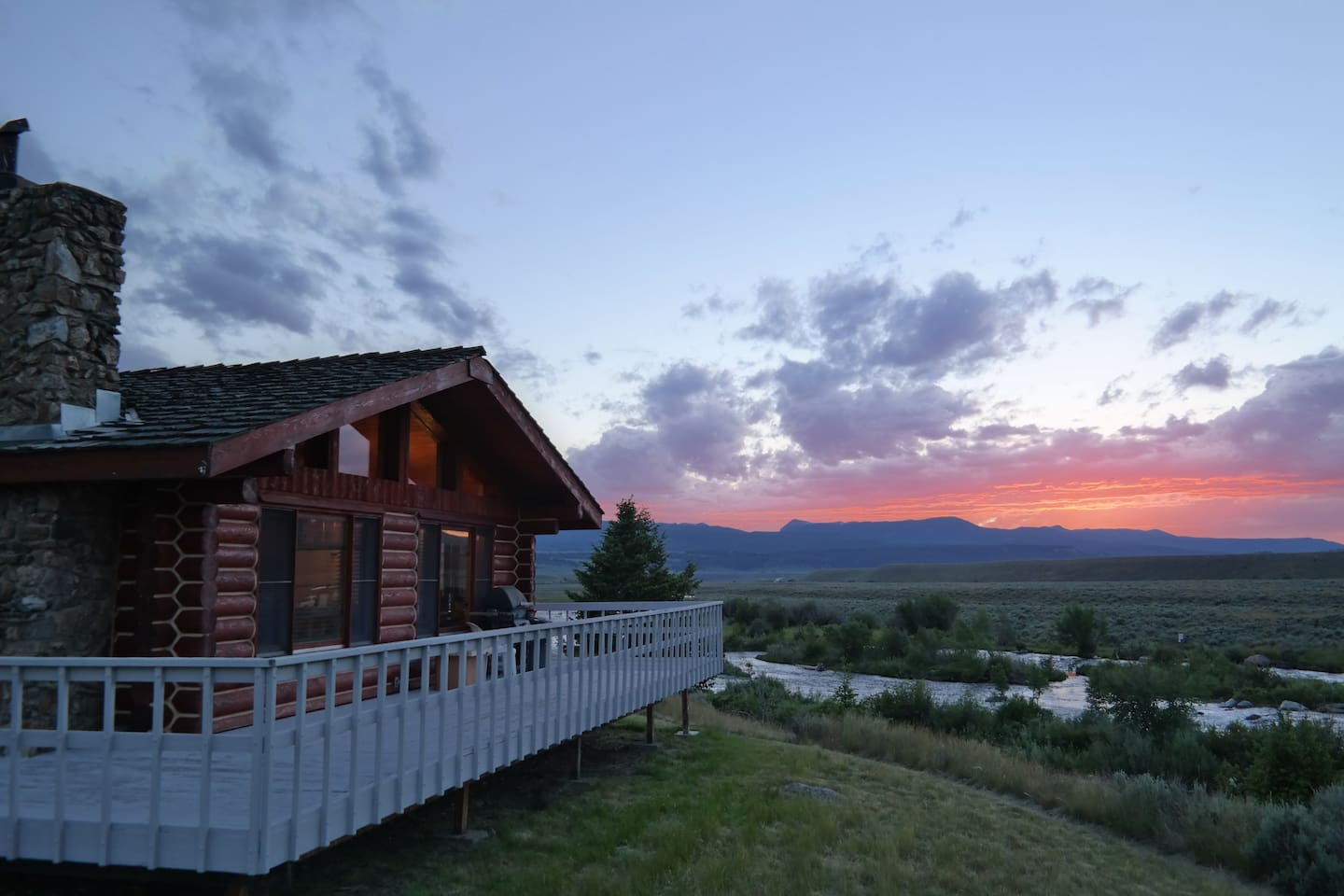 Endless views and sunsets from your private cabin directly on the Madison River.