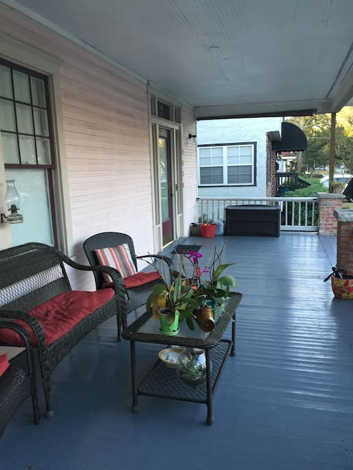 Wide front porch with seating