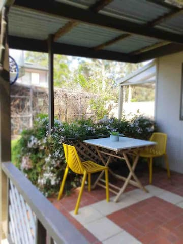 Outdoor patio, Enjoy a hot brew or cold beverage & relax while reading your favorite book.