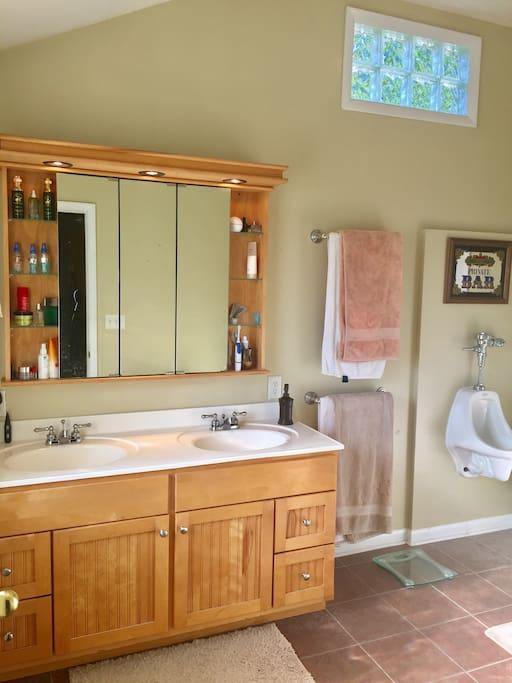 LARGE SUITE STYLE BATHROOM W/ URINAL, DUAL SINKS, TOILET, SHOWER, ETC.