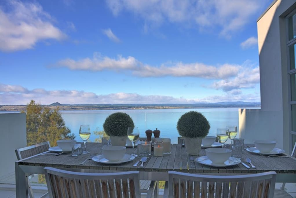 Enjoy a dinner party with stunning views from the deck