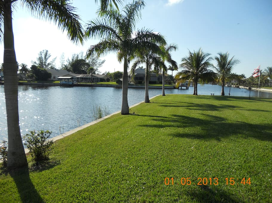 VIEW OF BACKYARD OVERLOOKING CANALS