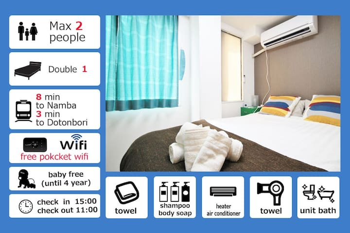 Special Discount Prise!!!★ Dotonbori area★4F07 - Ōsaka-shi - Apartment