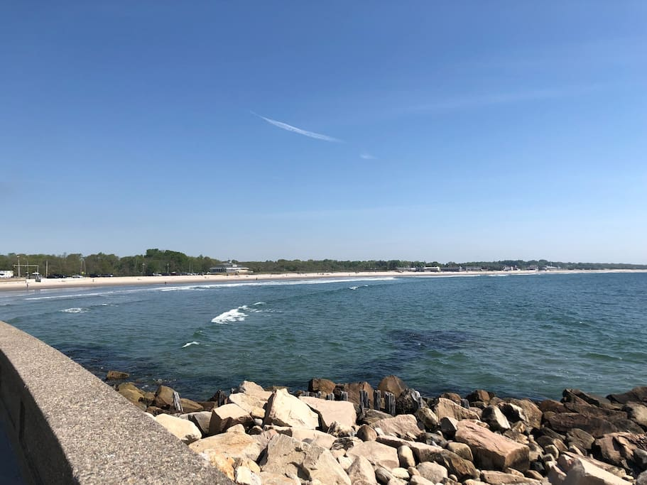 The seawall at Narragansett Beach