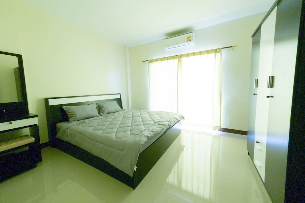 Fl.3 Bedroom, 6 feets king Size Soft Spring Bed in Clean Room. With Desk, Cupboard, small table, Chair and makeup desk.