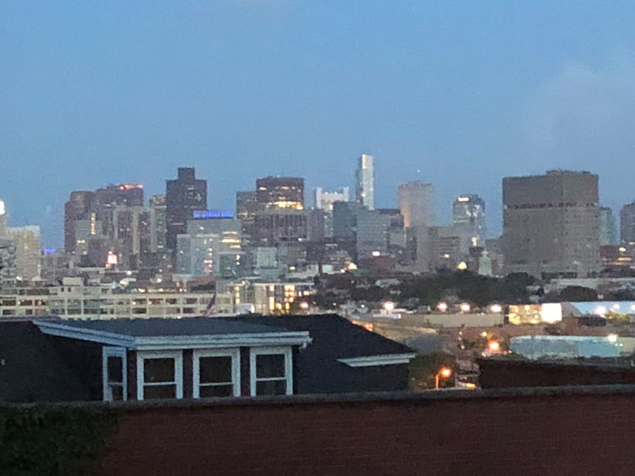 View of Boston skyline out the front bedroom window.