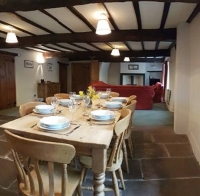 Dining table and chairs for eight guests