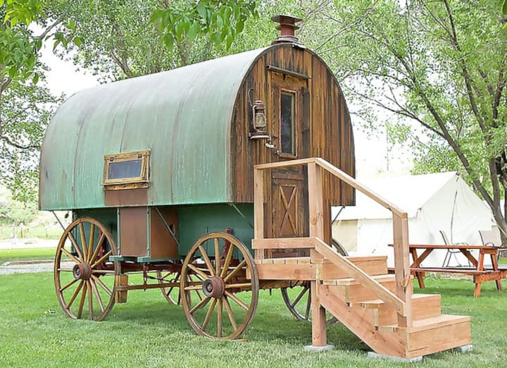 Restored 1920s Sheep Wagon Near Bighorn  Forest