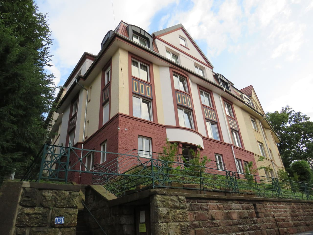 Your room is located in this renovated 1913 townhouse in a quiet and central area in east Pforzheim