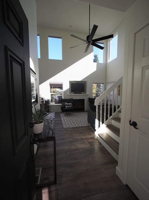 Double vaulted ceilings with lots of natural light when you walk through the front door.