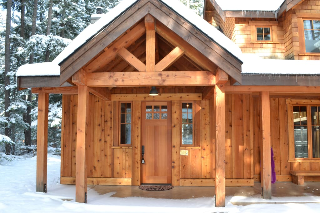 Front entry, 8' doors, western red cedar siding