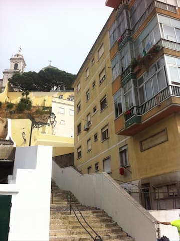Stairwell beside building to Graça viewpoint