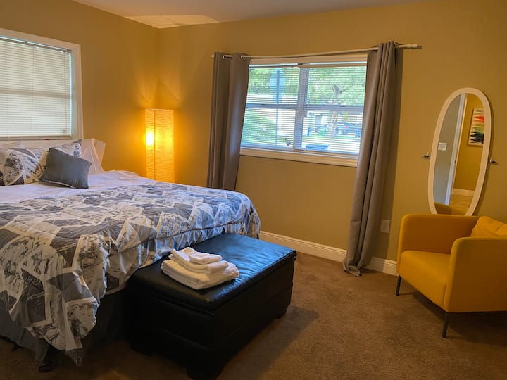 Comfortable, spacious and clean king size room.