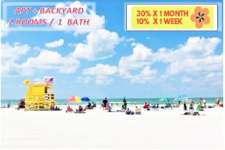 APT 2Br/1Bth/Playground,Downtown,LidoBeach(20%OFF)
