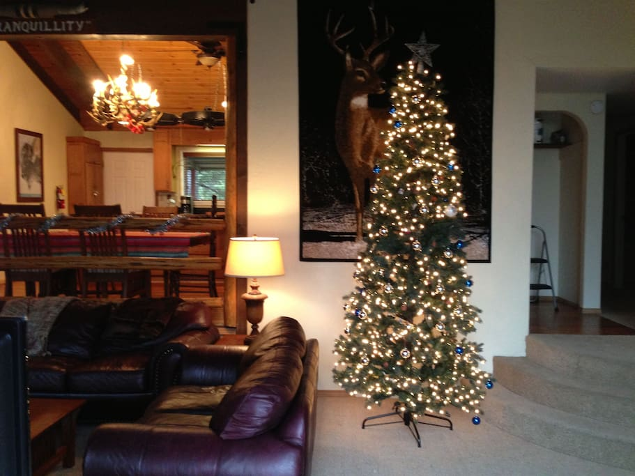 Living Room with Christmas Tree looking into kitchen.