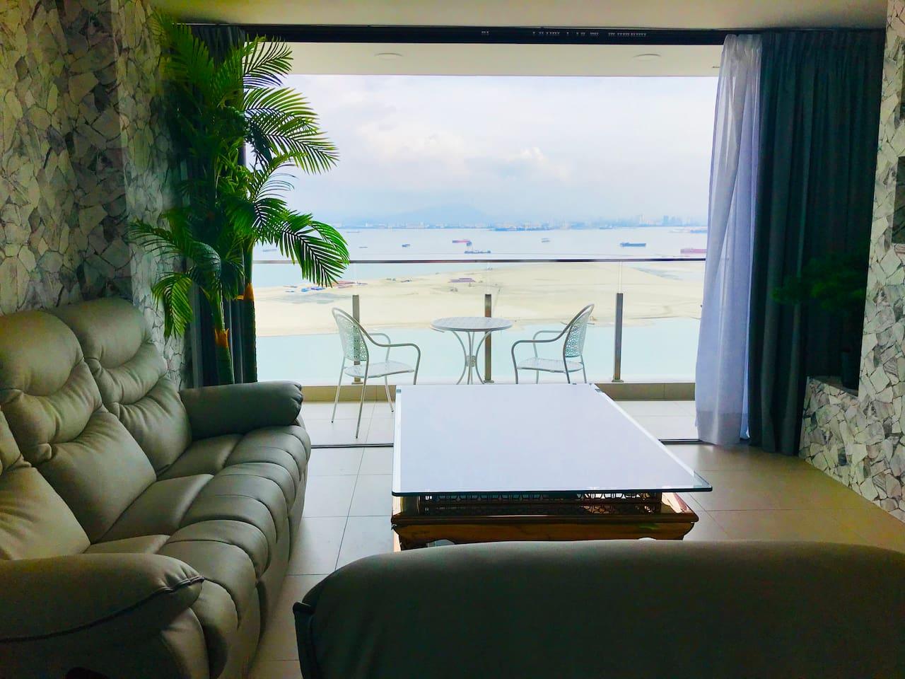 Living Room with Seaview Balcony