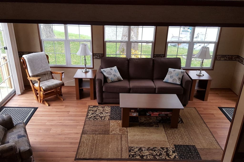 Enjoy a view of Basswood Bay from the sunken living room and kitchen.