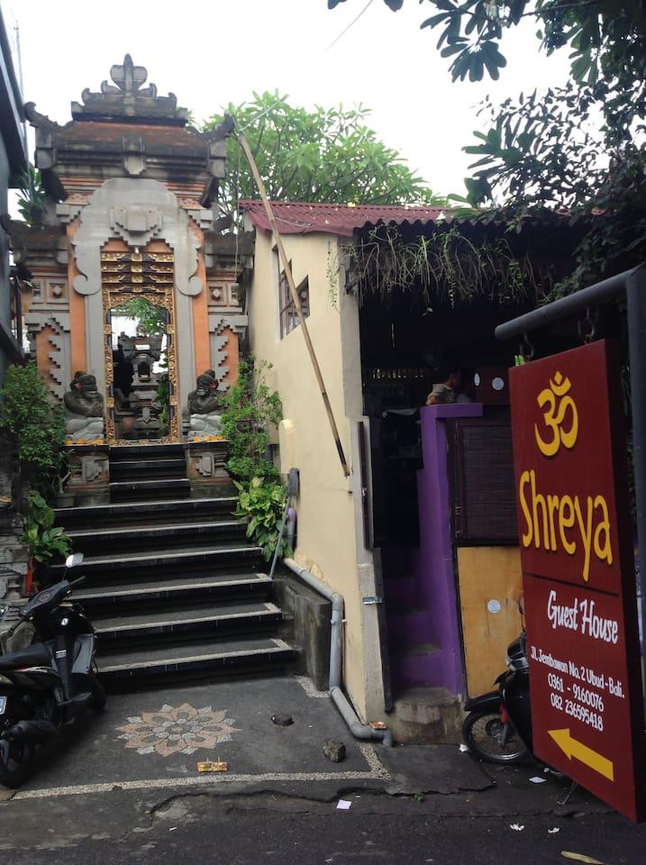 Street entrance to Shreya Guest House