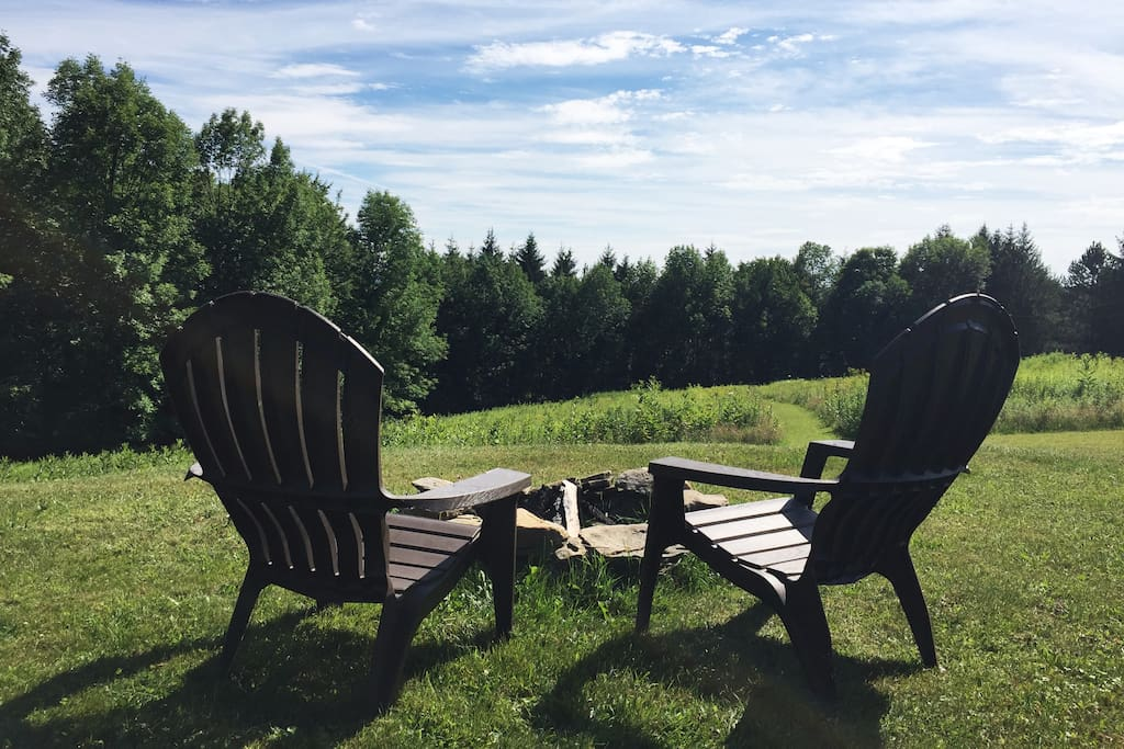 Big Catskills Views from the deck and the lawn (or stars from the fire pit!)