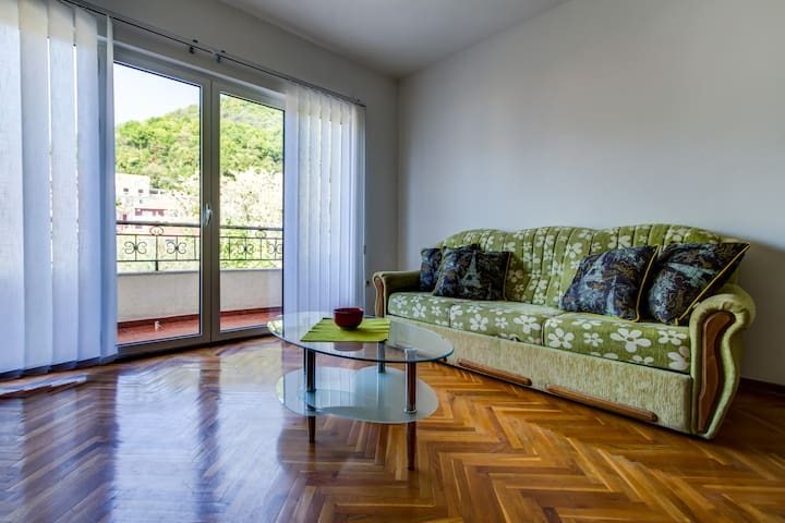 Living room wit sofa bed and balcony view